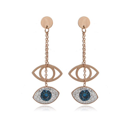 Evil Eye Earrings With 2 Pendants & CZ Stones - Evileyes.net