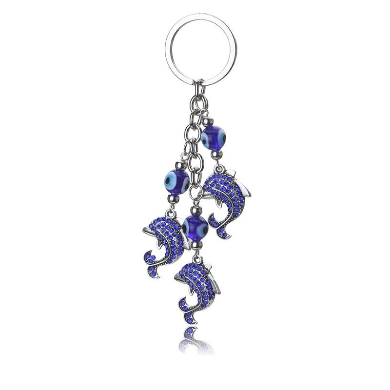 Turkish Evil Eye Keychain With Dolphins
