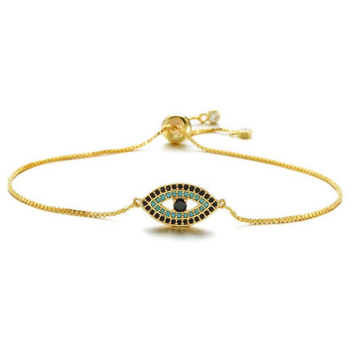 Celebrity Adjustable Evil Eye Bracelet With CZ Stones - Evileyes.net