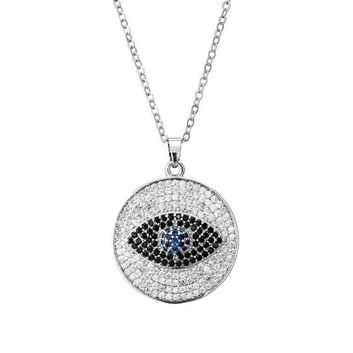 Celebrity Evil Eye Necklace With CZ Stones - Evileyes.net