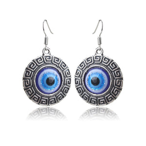 Evil Eye Round Drop Earrings for Protection - Evileyes.net