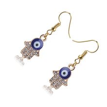 Load image into Gallery viewer, Blue Evil Eye Earrings With Hamsa Hand & CZ Stones - Evileyes.net