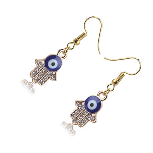 Blue Evil Eye Earrings With Hamsa Hand & CZ Stones - Evileyes.net