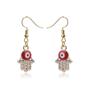 Red Evil Eye Earrings With Hamsa Hand & CZ Stones - Evileyes.net