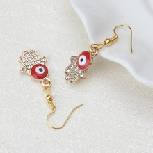 Load image into Gallery viewer, Red Evil Eye Earrings With Hamsa Hand & CZ Stones - Evileyes.net
