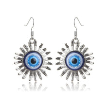 Load image into Gallery viewer, Sun Shaped Evil Eye Protection Drop Earrings - Evileyes.net