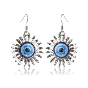 Sun Shaped Evil Eye Protection Drop Earrings - Evileyes.net