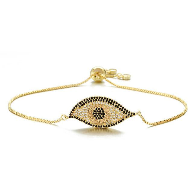 Adjustable Designer Evil Eye Bracelet With CZ Stones - Evileyes.net