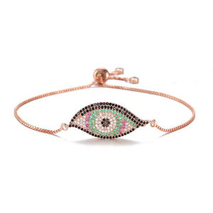 Colorful Adjustable Designer Evil Eye Bracelet With CZ Stones - Evileyes.net