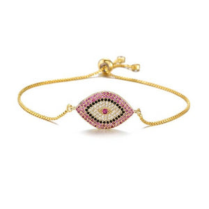 Adjustable Evil Eye Protection Bracelet With CZ - Evileyes.net
