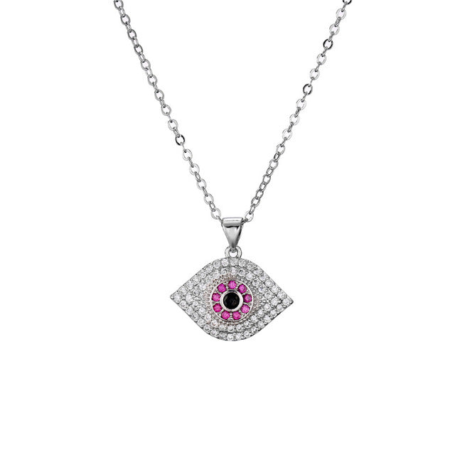Evil Eye Necklace With Eye Shape & CZ Stones - Evileyes.net