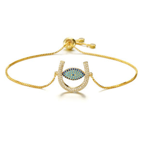 Adjustable Evil Eye Paved Bracelet With CZ Stones - Evileyes.net