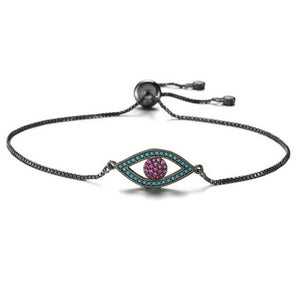 Adjustable Evil eye protection bracelet With CZ Stones - Evileyes.net