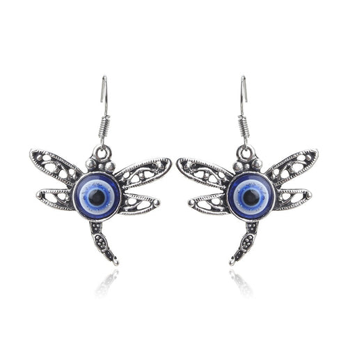 Dragonfly Drop Evil Eye Protection Earrings - Evileyes.net