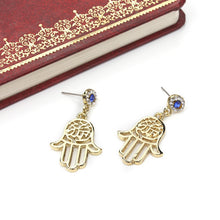Load image into Gallery viewer, Evil Eye Protection Earrings With Hamsa Hand Drops - Evileyes.net