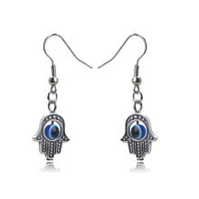 Load image into Gallery viewer, Evil Eye Protection Earrings With Hand of Fatima - Evileyes.net