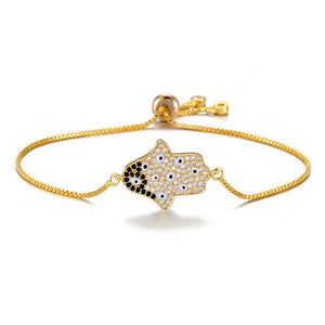 Adjustable Hamsa Hand Protection Bracelet With CZ Stones - Evileyes.net