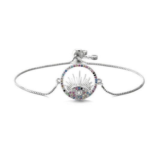 Adjustable Evil Eye Bracelet With Tree of Life & CZ Stones - Evileyes.net