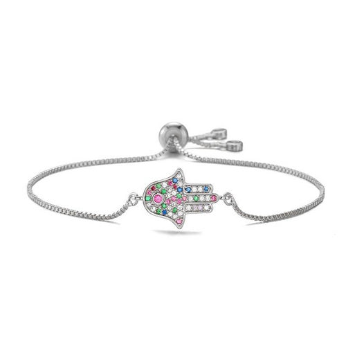 Colorful Evil Eye Bracelet With Hamsa Hand and CZ - Evileyes.net
