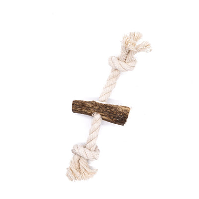 Medium Split Elk Antler Rope Toy