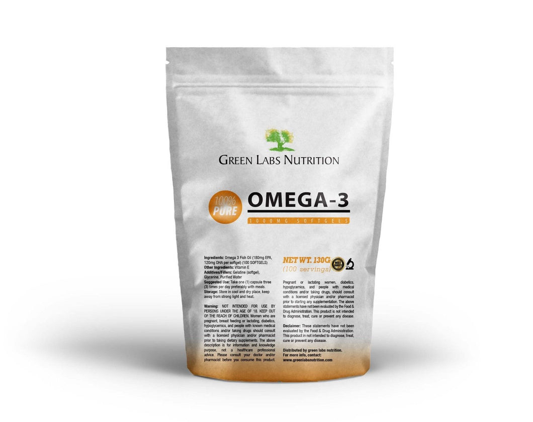 Omega 3 Fish Oil 1000mg Softgels - Green Labs Nutrition