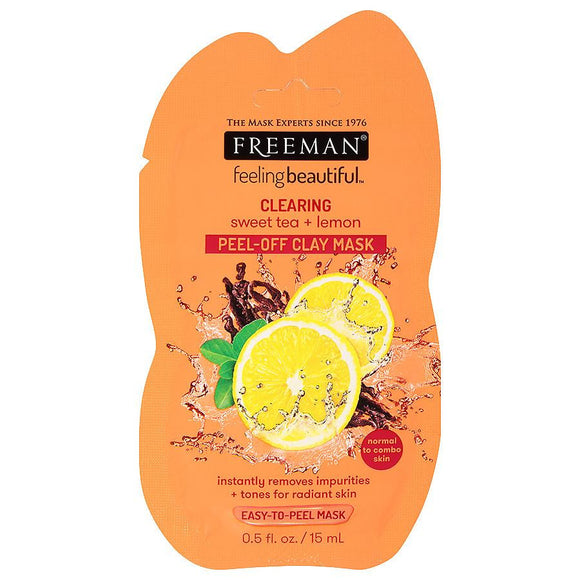 Freeman Clearing Sweet Tea + Lemon Peel-Off Clay Mask Sachet - 15ml
