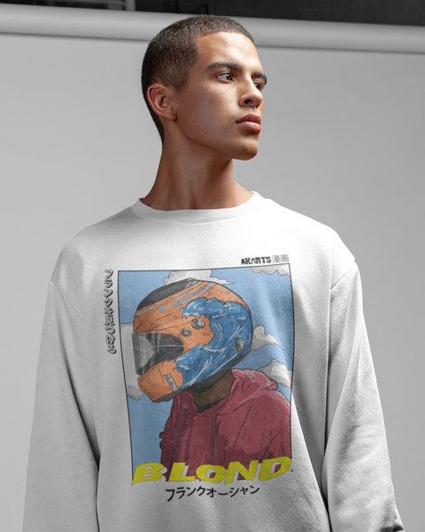 model wearing frank ocean blong long sleeve t-shirt by akarts