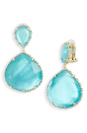 Kenzie Drop Clip-On Earring Gold Aqua Illusion