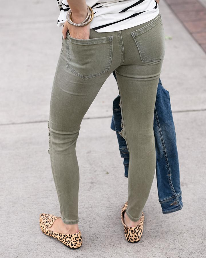 colored mid-rise distressed ankle jeggings - Olive