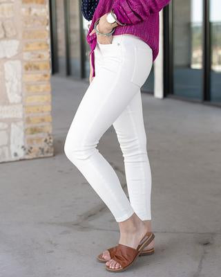 White non-distressed ankle jeggings