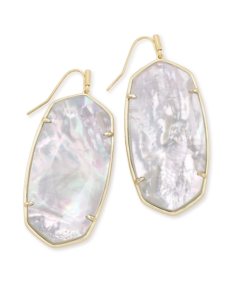 Faceted Danielle Gold Statement Earrings In Ivory Mother Of Pearl