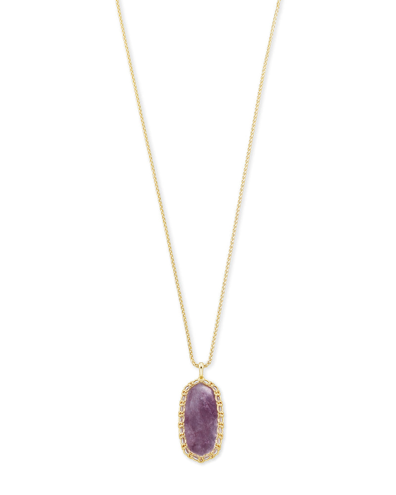 Macrame Reid Gold Long Pendant Necklace In Purple Mica