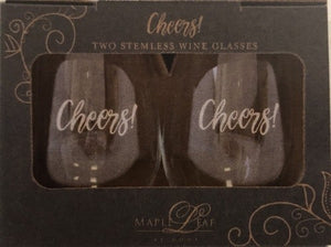 Maple Leaf Stemless Wine Glass Set of 2 Cheers!