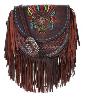 Brown VIntage Sugar Skull Saddle Bag