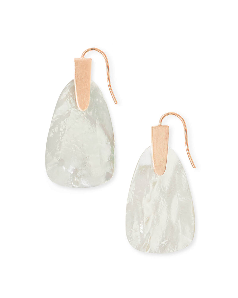 Marty Rose Gold Drop Earrings In Ivory Pearl