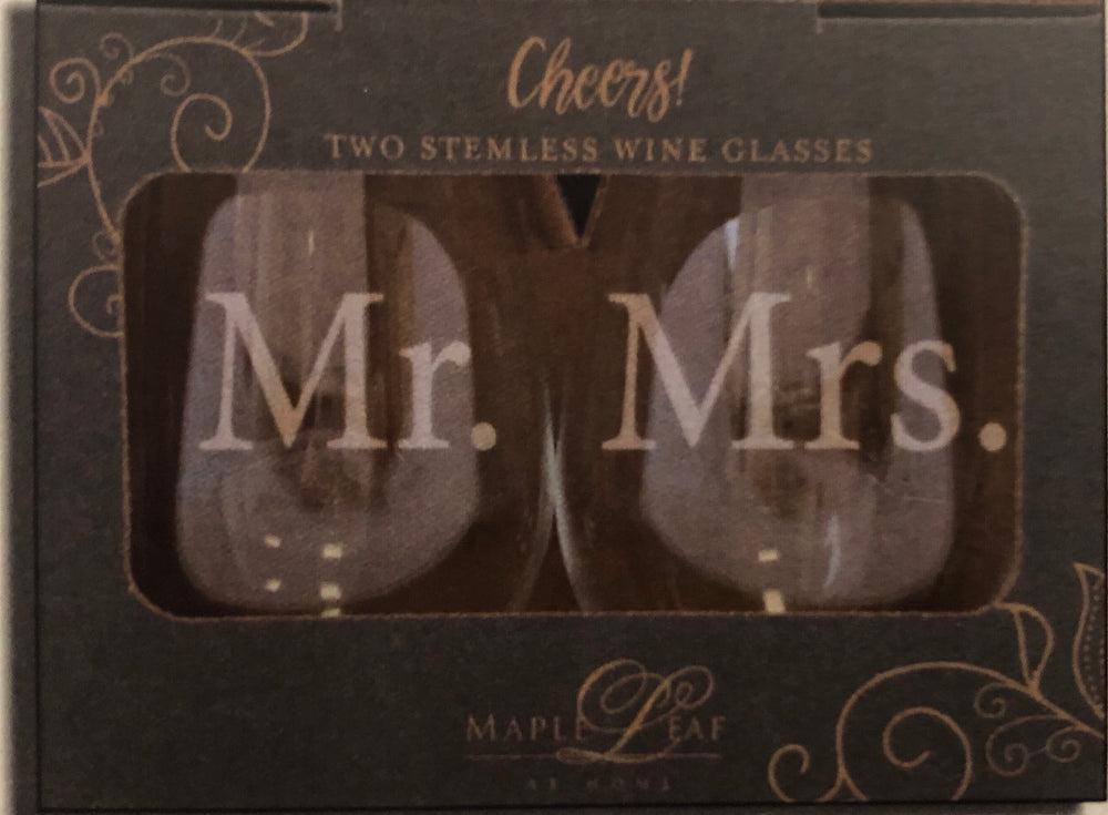 Maple Leaf Stemless Wine Glass Set of 2 Mr./Mrs.