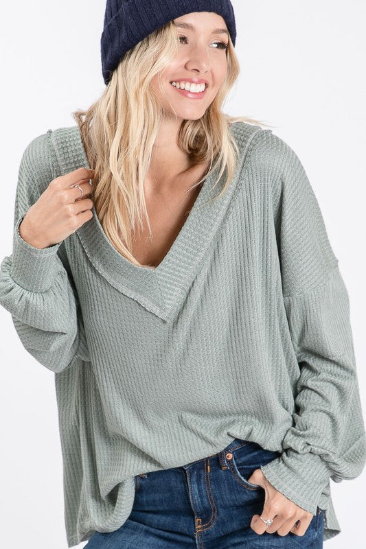 Thermal Waffle V-Neck