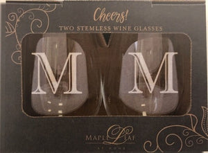 Maple Leaf Stemless Wine Glass Set of 2