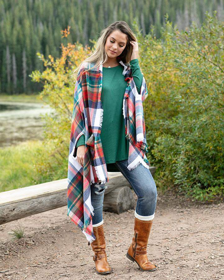 long sleeve tunic tee - Evergreen