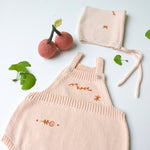 Ikebana Pink Romper with Bonnet