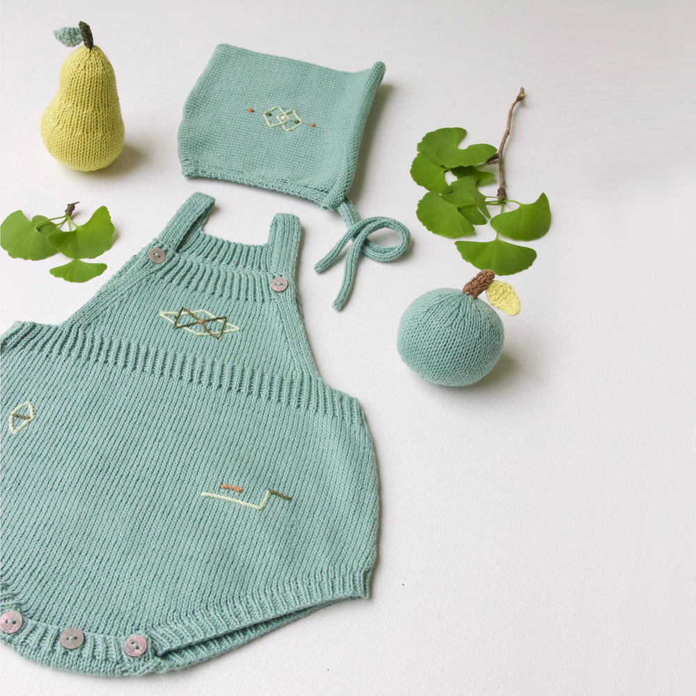 Origami Sage Romper with Bonnet