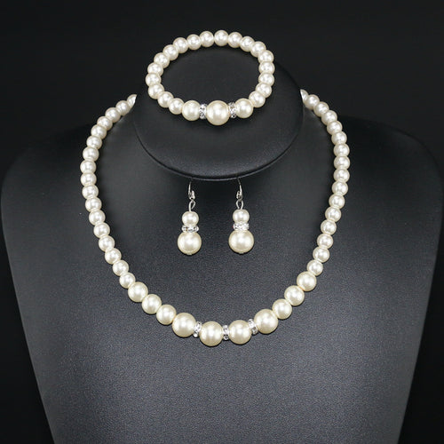 Basic Pearl Necklace, Earrings, and Bracelet Set