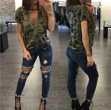 Load image into Gallery viewer, Women Camouflage V-neck Short sleeve T-shirt