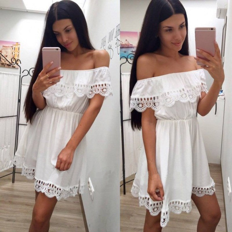Lace Off-Shoulder Frilled Mini S-XXL Black or White
