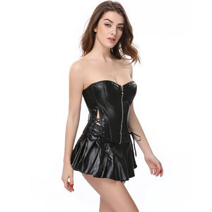 Faux Leather Corset Top with Mini Skirt S-6XL