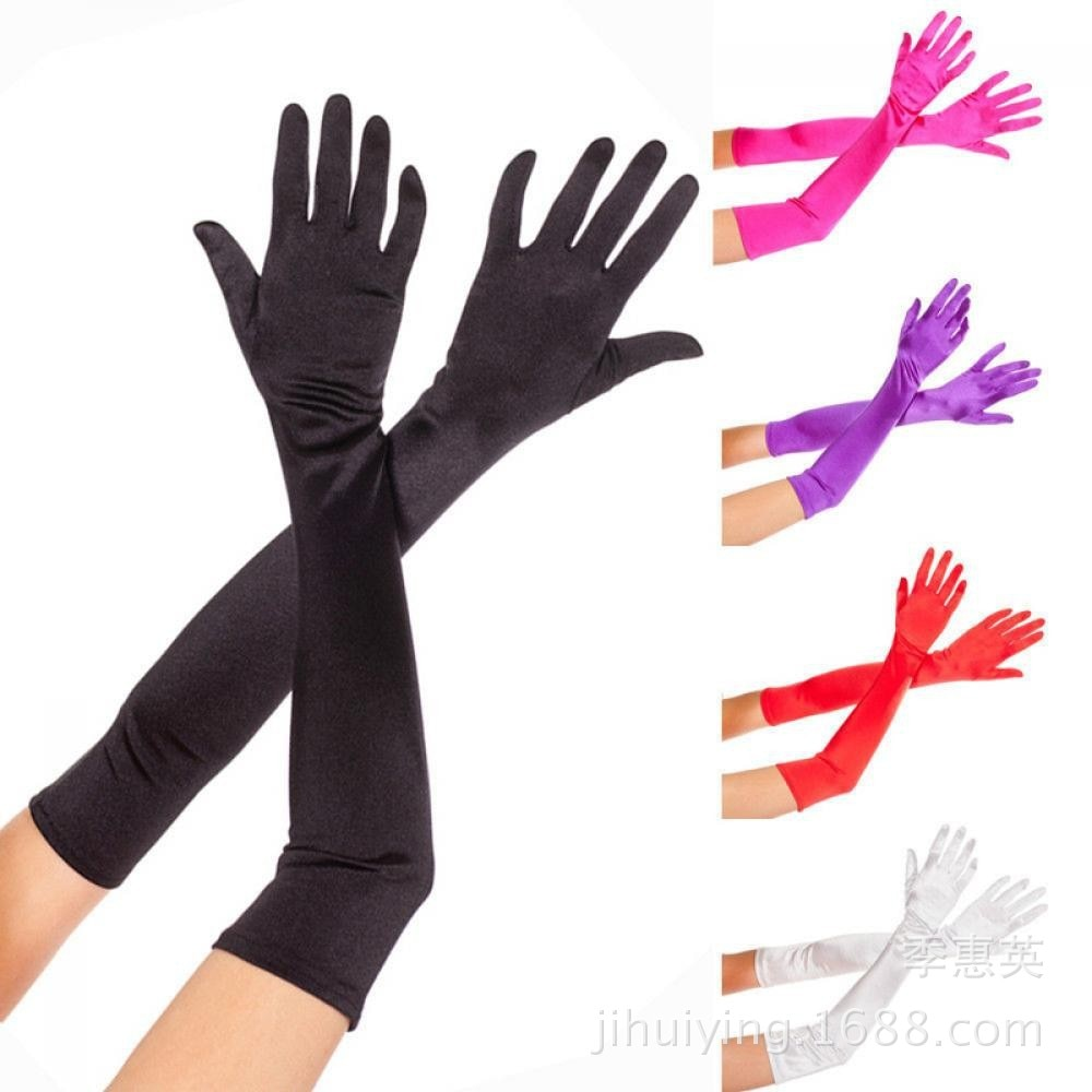 55cm Satin  Costume Stretch Gloves in 7 Colors
