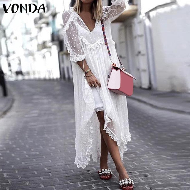 VONDA Dress Bohemian 2 styles Black or White S-5XL