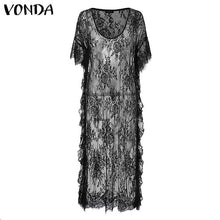 Load image into Gallery viewer, VONDA Butterfly Sleeve Robe Black or White S-5X