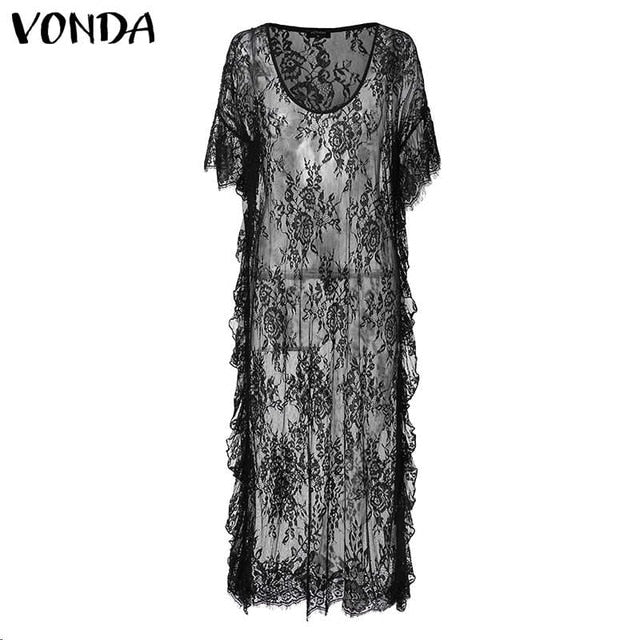 VONDA Butterfly Sleeve Robe Black or White S-5X