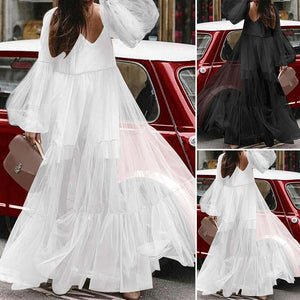 High Waist Transparent Flowing Maxi Dress in Black or White
